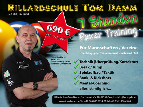 7 Stunden Power-Training Poolbillard - All Inclusive*